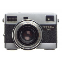 WERRA Matic Jena T 1:2.8 f=50mm Unusual point and shoot camera kit hood cap case clean condition