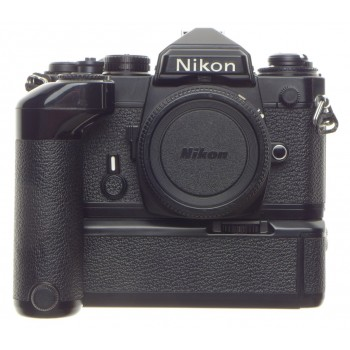 Black NIKON FE 35mm SLR classic film camera body with MD-12 motor winder hand battery grip