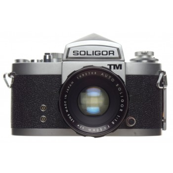 SOLIGOR TM SLR vintage 35mm film camera Auto 1:1.8 f=50mm screw mount lens cap case strap MINT