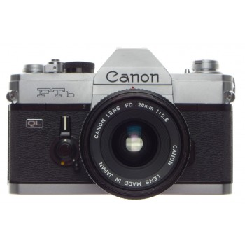 CANON FTb QL 2.8/28 chrome classic vintage SLR 35mm film camera FD 28mm 1:2.8 wide angle lens