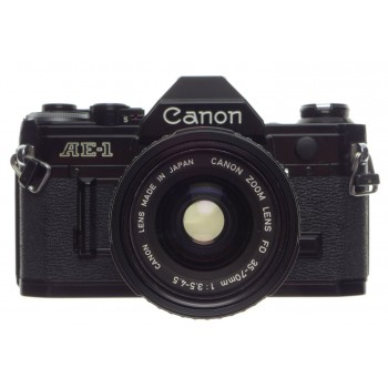 Canon AE-1 black SLR 35mm vintage film camera FD Zoom 35-70mm lens 1:3.5-4.5 strap