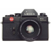 Leica R3 SLR 35mm black vintage  film camera SUMMICRON 2/50mm cap strap f=50mm