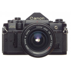 CANON A-1 black 35mm SLR film camera with FD 24mm 1:2.8 S.S.C lens filter