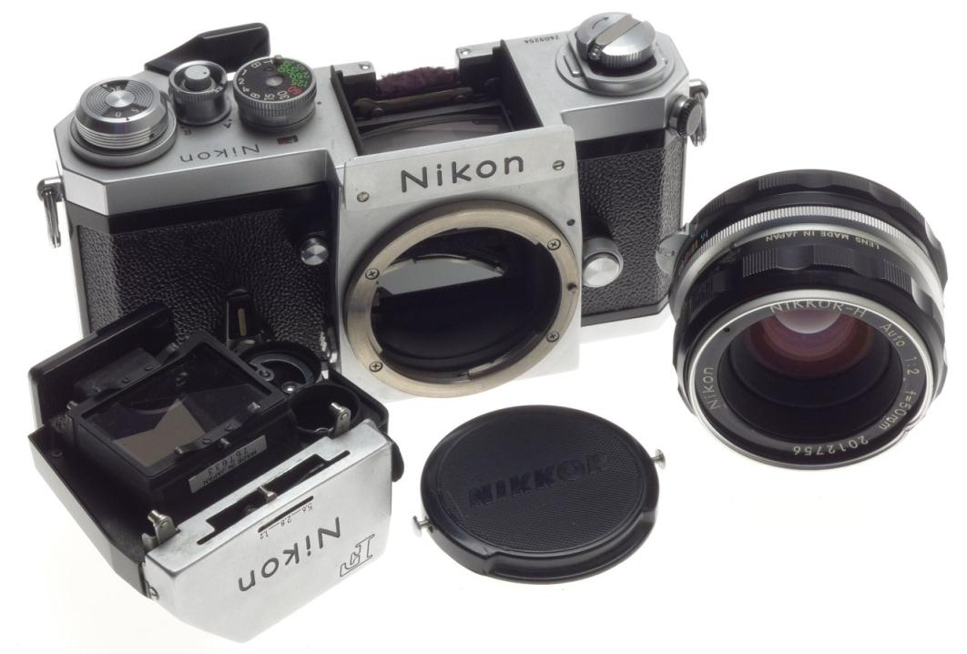 35mm point shoot 35mm vintage film camera chrome nikon f body nikkor h auto 1 2 f 50mm lens. Black Bedroom Furniture Sets. Home Design Ideas