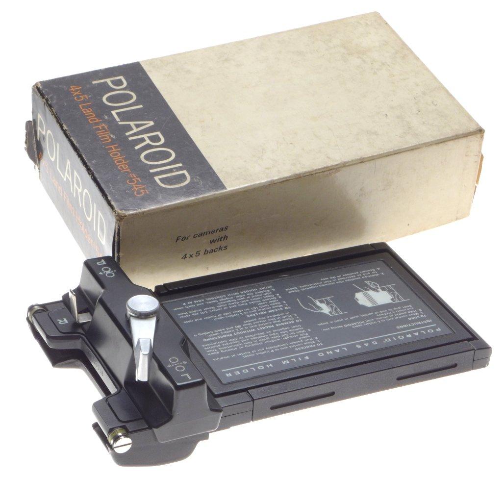 Polaroid 4x5 instant film camera Land film holder 545 insert film back  boxed excellent - Polaroid